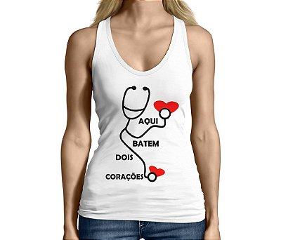 Camiseta Regata Feminina Gestantes Grávidas Frases 2 Corações -Personalizadas/ Customizadas/ Camiseteria/ Camisa T-shirts Baratas Modelos Legais Loja Online