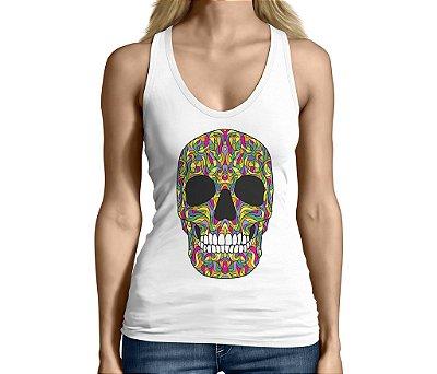 Camiseta Regata Feminina Caveira Mexicana Colorida Chicano Divertidas Engraçadas  - Personalizadas/ Customizadas/ Camiseteria/ Camisa T-shirts Baratas Modelos Legais Loja Online