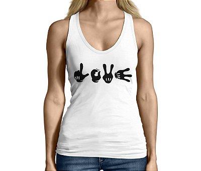 Camiseta Regata Feminina Frases Engraçadas e Divertidas Love Mickey - Personalizadas/ Customizadas/ Camiseteria/ Camisa T-shirts Baratas Modelos Legais Loja Online