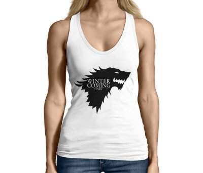 Camiseta Regata Feminina Game Of Thrones Winter Is Coming Stark - Personalizadas/ Customizadas/ Camiseteria/ Camisa T-shirts Baratas Modelos Legais Loja Online