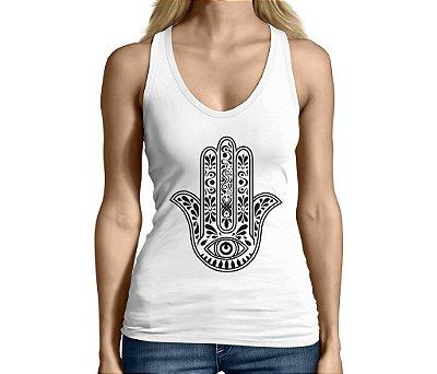 Camiseta Regata Feminina Hamsá Mão de Fátima  - Personalizadas/ Customizadas/ Camiseteria/ Camisa T-shirts Baratas Modelos Legais Loja Online