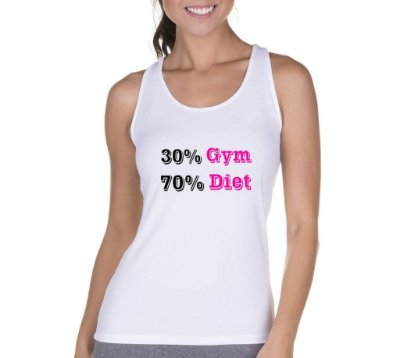 Camiseta Regata Feminina Fitness Academia Frases 30% Gym 70% Diet - Personalizadas/ Customizadas/ Camiseteria/ Camisa T-shirts Baratas Modelos Legais Loja Online