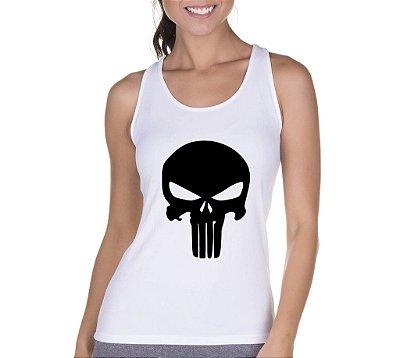 Camiseta Regata Cavada Feminina Camisa Blusa Fitness Academia Super Heróis O Justiceiro - Personalizadas/ Customizadas/ Camiseteria/ Camisa T-shirts Baratas Modelos Legais Loja Online