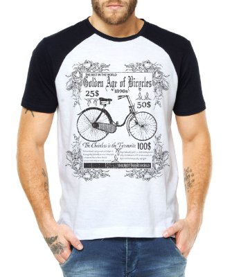 Camiseta Masculina Raglan Ciclismo Retrô - Ciclo Mountain Bike Cicloturismo Urbano Bicicleta Ciclocross Atletas