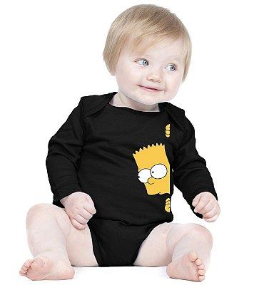 Body Bebê Bart Simpsons - Roupinhas Macacão Infantil Bodies Roupa Manga Longa Menino Menina Personalizados