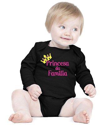 Body Bebê Princesa da Familia - Roupinhas Macacão Infantil Bodies Roupa Manga Longa Menino Menina Personalizados