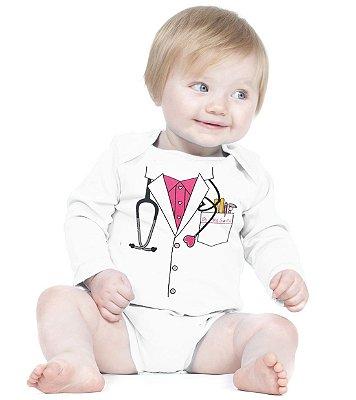 Body Bebê Engraçados, Divertidos e Criativos Médica - Roupinhas Macacão Infantil Bodies Roupa Manga Longa Menino Menina Personalizados