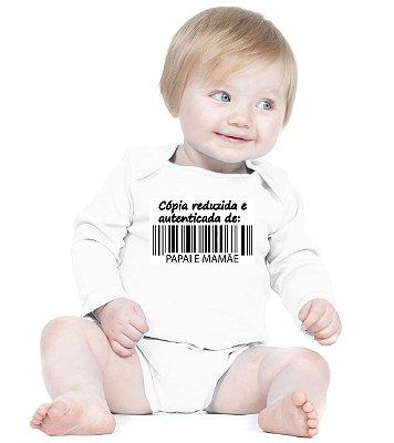 Body Bebê Frases Engraçadas e Divertidas Cópia de Papai e Mamãe Amor de Fã Branco - Roupinhas Macacão Infantil Bodies Roupa Manga Longa Menino Menina Personalizados