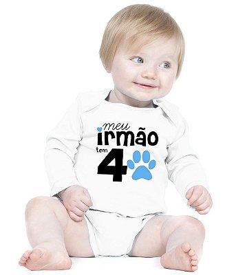 Body Bebe Frases Irmão de Quatros Patas Irmãos Criativa Urbana Branca - Roupinhas Macacão Infantil Bodies Roupa Manga Longa Menino Menina Personalizados
