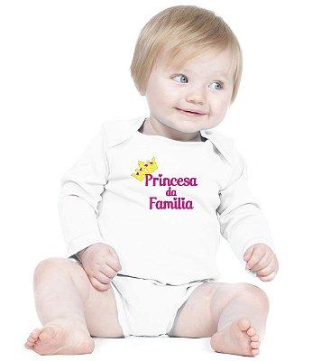 Body Bebe Princesa da Família Roupas Menina Bodies  Amor de Fã Branco- Roupinhas Macacão Infantil Bodies Roupa Manga Longa Menino Menina Personalizados