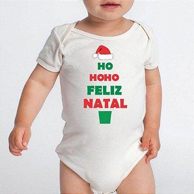 Body Bebê Feliz Natal Hohoho Papai Noel Boas Festas Réveillon - Roupinhas Macacão Infantil Bodies Roupa Manga Curta Menino Menina Personalizados
