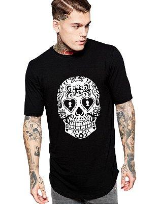 Camiseta Long Line Oversized Masculina Caveira Mexicana Cartas Camisetas Barra Curvada - Camisetas Personalizadas