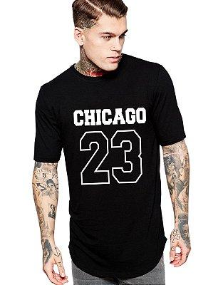 Camiseta Long Line Oversized Masculina Chicago Camisetas Barra Curvada - Camisetas Personalizadas/ Customizadas/ Estampadas/ Camiseteria/ Estamparia/ Estampar/ Personalizar/ Customizar/ Criar/ Camisa Barata Modelos Legais Loja Online