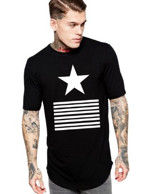 Camiseta Long Line Oversized Masculina Star Camisetas Barra Curvada - Camisetas Personalizadas/ Customizadas/ Estampadas/ Camiseteria/ Estamparia/ Estampar/ Personalizar/ Customizar/ Criar/ Camisa Blusas Baratas Modelos Legais Loja Online