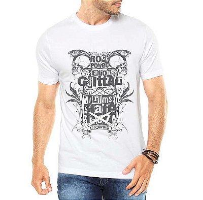 Camiseta Masculina Rock Caveiras