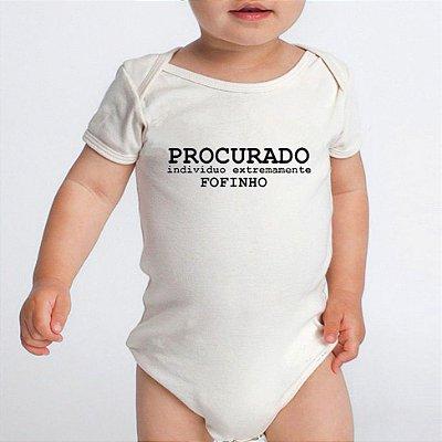Body Bebê Divertido Procurado Manga Curta Menino e Menina