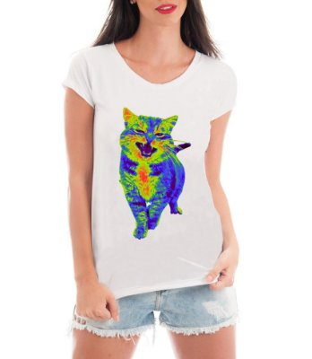 Camiseta Feminina Blusa Gato Psicodélico - Frases Engraçadas Personalizadas/ Customizadas/ Estampadas/ Camiseteria/ Estamparia/ Estampar/ Personalizar/ Customizar/ Criar/ Camisa Blusas