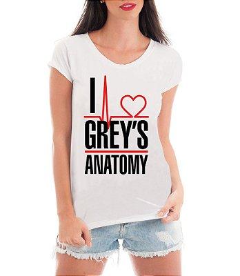 Camiseta Feminina Blusa I Love Grey's Anatomy Frases Séries Seriado - Frases Engraçadas Personalizadas/ Customizadas/ Estampadas/ Camiseteria/ Estamparia/ Estampar/ Personalizar/ Customizar/ Criar/ Camisa Blusas