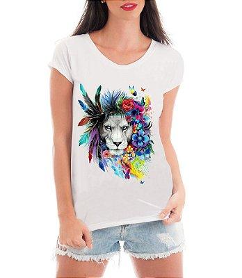 Camiseta Feminina Blusa Leoa Psicodélica - Frases Engraçadas Personalizadas/ Customizadas/ Estampadas/ Camiseteria/ Estamparia/ Estampar/ Personalizar/ Customizar/ Criar/ Camisa Blusas