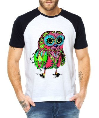 Camiseta Masculina Coruja Psicodélica Raglan