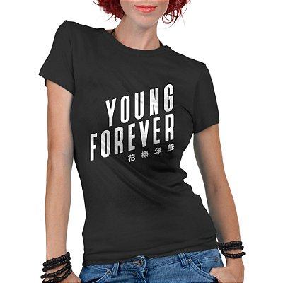 Camiseta Feminina BTS Bangtan Boys Kpop Young Forever - Personalizadas/ Customizadas/ Estampadas/ Camiseteria/ Estamparia/ Estampar/ Personalizar/ Customizar/ Criar/ Camisa Blusas Baratas Modelos Legais Loja Online/ Bebê