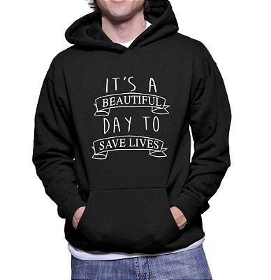 Moletom Masculino  Grey's Anatomy Frases Save Lives Seriados -  Moletons Personalizados Blusa/ Casacos Baratos/ Blusão/ Jaqueta Canguru