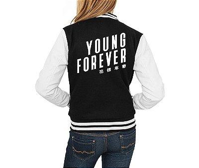 Jaqueta College Feminina BTS Bangtan Boys Young Forever Nova Logo BTS - Jaquetas Colegial Americana Universitária Baseball/ Casacos/ Blusão Baratos