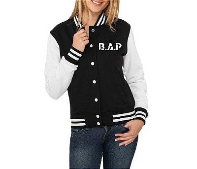 Jaqueta College Feminina Kpop Banda B.A.P K-pop - Jaquetas Colegial Americana Universitária Baseball Casacos Blusa Blusão Baratos Loja Online