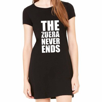 Vestido Curto da Moda Feminino Zuera Never Ends - Simples para o Dia a Dia Básico de Malha Estampado Modelos Lindos e Baratos em Preto e Cinza Verão Comprar Loja Online Site Promoção Vestidos Casuais
