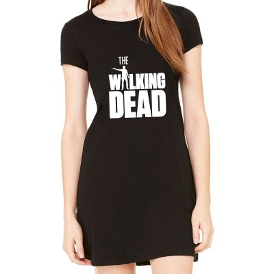 Vestido Curto da Moda Feminino #The Walking Dead Série - Simples para o Dia a Dia Básico de Malha Estampado Modelos Lindos e Baratos em Preto e Cinza Verão Comprar Loja Online Site Promoção Vestidos Casuais