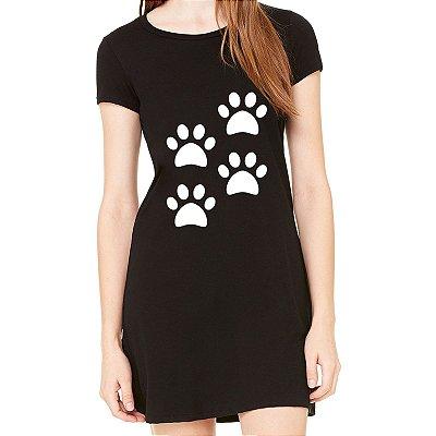 Vestido Curto da Moda Feminino 4 Quatro Patas Dog Pets - Simples para o Dia a Dia Básico de Malha Estampado Modelos Lindos e Baratos em Preto e Cinza Verão Comprar Loja Online Site Promoção Vestidos Casuais