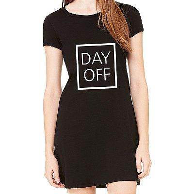 Vestido Curto da Moda Feminino Day Off - Simples para o Dia a Dia Básico de Malha Estampado Modelos Lindos e Baratos em Preto e Cinza Verão Comprar Loja Online Site Promoção Vestidos Casuais