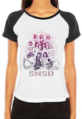 Camiseta Feminina Kpop Banda Girls Generation Integrantes Hyoyeon Jessica Seohyun Sooyoung Sunny Taeyeon Tiffany Yoona Yuri K-Pop Raglan - Estampadas Camisa Blusas Baratas Modelos Legais Loja Online