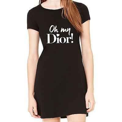 Vestido Curto da Moda Feminino Oh my Dior - Simples para o Dia a Dia Básico de Malha Estampado Modelos Lindos e Baratos em Preto e Cinza Verão Comprar Loja Online Site Promoção Vestidos Casuais