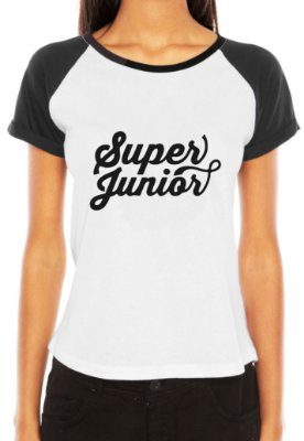 Camiseta Feminina Kpop Banda Super Junior T shirt Blusa K-pop Raglan - Estampadas Camisa Blusas Baratas Modelos Legais Loja Online