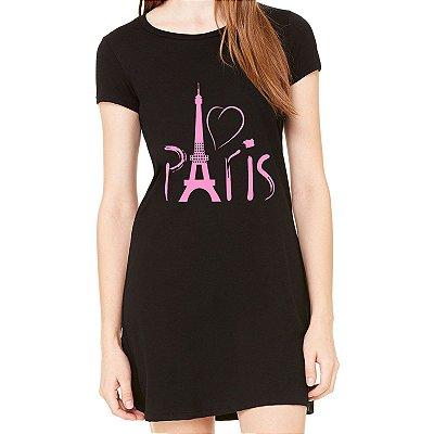 Vestido Curto da Moda Feminino Paris Rosa  - Simples para o Dia a Dia Básico de Malha Estampado Modelos Lindos e Baratos em Preto e Cinza Verão Comprar Loja Online Site Promoção Vestidos Casuais