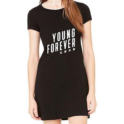 Vestido Curto BTS Bangtan Boys K-pop da Moda Feminino Young Forever - Simples para o Dia a Dia Básico de Malha Estampado Modelos Lindos e Baratos em Preto e Cinza Verão Comprar Loja Online Site Promoção Vestidos Casuais
