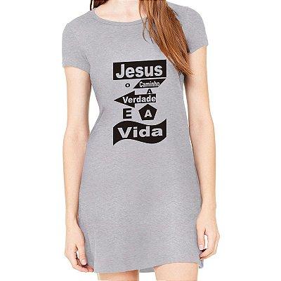 Vestido Curto da Moda Feminino  Jesus o Caminho e a Vida - Simples para o Dia a Dia Básico de Malha Estampado Modelos Lindos e Baratos em Cinza Verão Comprar Loja Online Site Promoção Vestidos Casuais