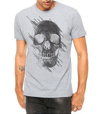 Camiseta Masculina Caveira Estilizada Cinza - Personalizadas/ Customizadas/ Estampadas/ Camiseteria/ Estamparia/ Estampar/ Personalizar/ Customizar/ Criar/ Camisa Blusas Baratas Modelos Legais Loja Online