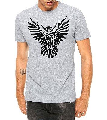 Camiseta Masculina Coruja Asas Abertas Tribal Tattoo Cinza - Personalizadas/ Customizadas/ Estampadas/ Camiseteria/ Estamparia/ Estampar/ Personalizar/ Customizar/ Criar/ Camisa Blusas Baratas Modelos Legais Loja Online