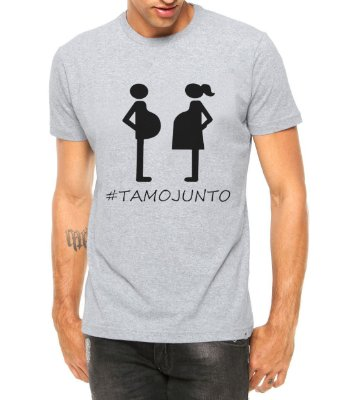 Camiseta Masculina Papai Tamo Junto Grávidos Cinza - Personalizadas/ Customizadas/ Estampadas/ Camiseteria/ Estamparia/ Estampar/ Personalizar/ Customizar/ Criar/ Camisa Blusas Baratas Modelos Legais Loja Online