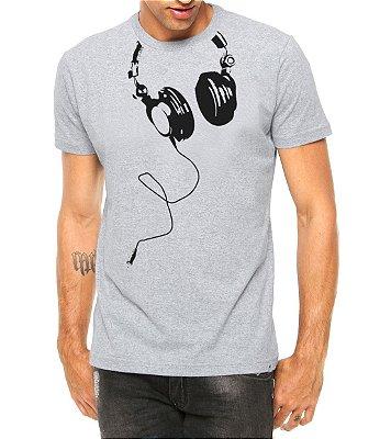 Camiseta Masculina Fones Nerd Geek Cinza