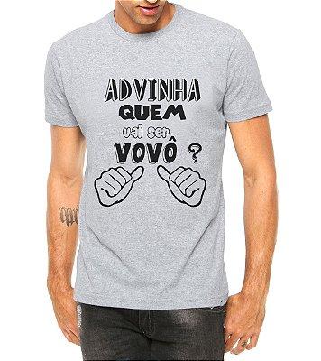 Camiseta Masculina Adivinha Eu Vovô Cinza