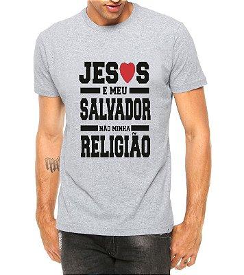 Camiseta Masculina Jesus é Meu Salvador Cinza - Personalizadas/ Customizadas/ Estampadas/ Camiseteria/ Estamparia/ Estampar/ Personalizar/ Customizar/ Criar/ Camisa Blusas Baratas Modelos Legais Loja Online