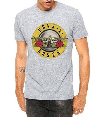 Camiseta Masculina Guns N Roses Cinza - Personalizadas/ Customizadas/ Estampadas/ Camiseteria/ Estamparia/ Estampar/ Personalizar/ Customizar/ Criar/ Camisa Blusas Baratas Modelos Legais Loja Online