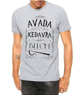 Camiseta Masculina Harry Potter Frases Avada Kedavra Filmes Geek Nerd Cinza - Personalizadas/ Customizadas/ Estampadas/ Camiseteria/ Estamparia/ Estampar/ Personalizar/ Customizar/ Criar/ Camisa Blusas Baratas Modelos Legais Loja Online