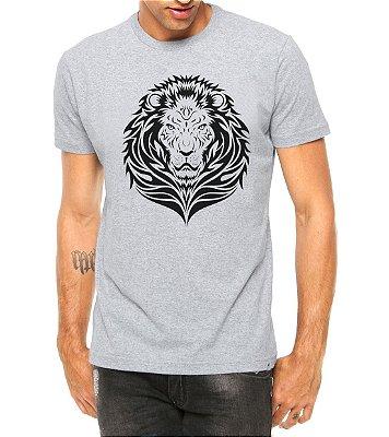 Camiseta Masculina Leão Tribal Cinza
