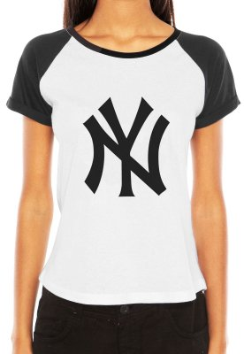 Camiseta Feminina Tshirt Nfl New York Yankees Baseball Raglan - Personalizadas/ Customizadas/ Estampadas/ Camiseteria/ Estamparia/ Estampar/ Personalizar/ Customizar/ Criar/ Camisa Blusas Baratas Modelos Legais Loja Online