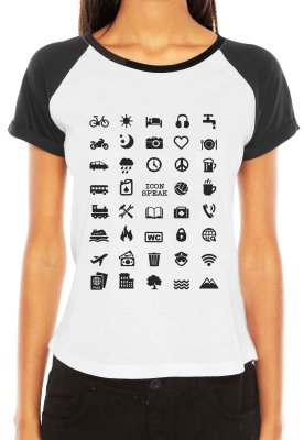 Camiseta Feminina Viajante 40 Icon Speak Viajem Raglan - Personalizadas/ Customizadas/ Estampadas/ Camiseteria/ Estamparia/ Estampar/ Personalizar/ Customizar/ Criar/ Camisa Blusas Baratas Modelos Legais Loja Online