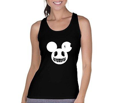 Camiseta Regata Feminina Mickey Caveira Preta- Personalizadas/ Customizadas/ Camiseteria/ Camisa T-shirts Baratas Modelos Legais Loja Online